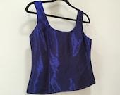 Blue Formal Top, Crop Top, Sleeveless Blouse, Blue Dress Top, Shiny Organza Tank Top, Zip Back, Cropped Blouse, Vintage 90s Blue Purple 6 M
