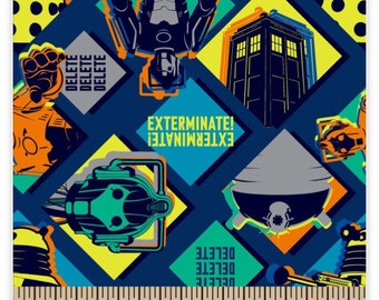 """Doctor Who Cartoon Fabric Remnant 24"""" by 44"""""""