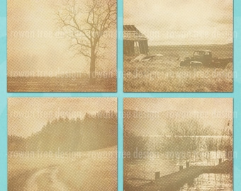SEPIA LANDSCAPES Digital Collage Sheet 2.5in LARGE Squares Trees Lakes Fields - no. 0077