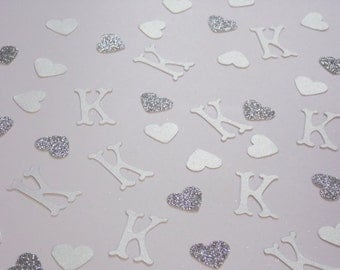 White Monogram Confetti, Wedding Shower Decor, Wedding Reception Table Scatter, Bridal Shower Decoration, Glitter Hearts