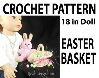 """18 inch Doll Crochet  """"Faux"""" Straw Easter Basket"""