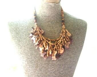 Vintage 80s  three strand wood bib necklace.