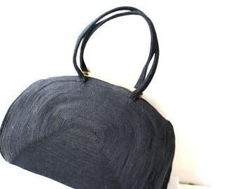 Sale 10% of Glamour vintage 40s black corde art deco style hand bag.