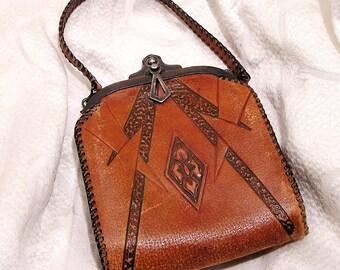 Antique Vintage Art Nouveau Purse Tooled Leather Arts and Crafts 1920s Volland Leathercraft Needs TLC