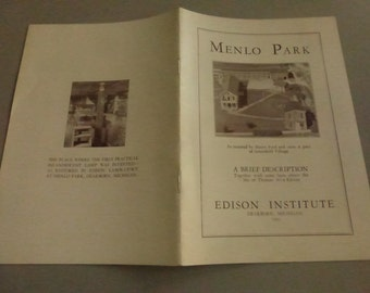 Antique Edison Institute Menlo Park Guide Book