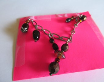 glass stone charm necklace