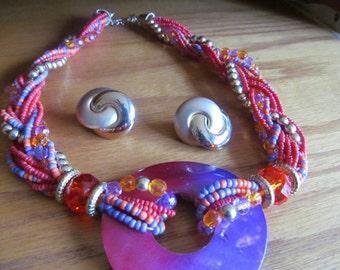 twist braid orange necklace plus