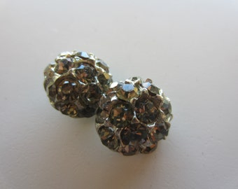 Vintage Button - 2 beautiful small matching domed design rhinestone embellished, silver antique finish metal (lot nov 99)