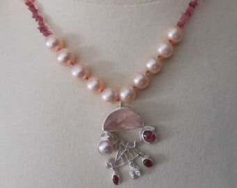 Abstract Asian Shades of Pink Necklace Pink Pearl Rose Quartz Pink Tourmaline White Sapphires
