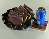 MOTORHEAD recycled Orgasmation album art cover coasters with record bowl