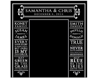 Personalized Photo Booth Backdrop - Vintage Victorian French Country Rustic Chalkboard Wedding Reception Vinyl Backdrop 8 x 8 ft