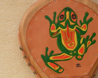Northwestern primitive frog design on cedar and leather fireplace, wood stove, or bar B Q bellows