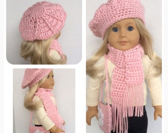 Doll Clothes Made To Fit American Girl, 3 Pc Slouchy Hat, Scarf, Shoulder Bag, Crochet, Light Pink