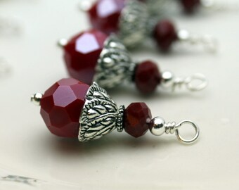 Red Multifaceted Round and Rondelle Crystal Bead Earring Dangle Necklace Charm Drop Set