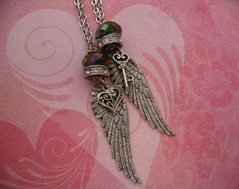 Angel Wings Lock and Key Necklaces with Bead Accents Jewelry for Sisters or Friends Gift