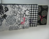 Set of 4 Embroidered  Makeup Bag, Personalized Clutch, Monogrammed Zipper Pouch, Made to Order
