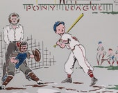 1940's Vintage Wallpaper Boys Baseball Team Ballpark on Gray