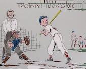 1940's Vintage Wallpaper Boys Baseball Team Ballpark on Gray