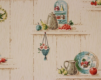 1950s Vintage Wallpaper Blue and Red Kitchen on Wood Grain Plank by the Yard