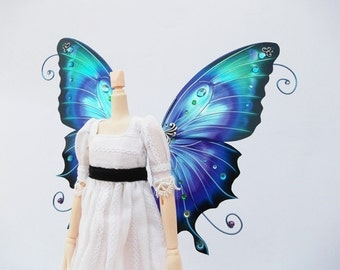 1/6 OOAK Butterfly wings for Dolls - Atenys - Purple Blue Turquoise