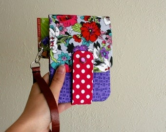 Floral Print - Pink and Purple - Phone Wallet with Card Slots and Zipper- Leather Wrist Strap