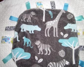 Baby Animal Tag Blanket, Handmade, Sensory Blanket, Lovey, Tags, Teething, Zebra, Hippos, Giraffe,Minky,Ready to ship