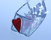 Home is Where the Heart Is stained glass house ornament with red heart and ribbon