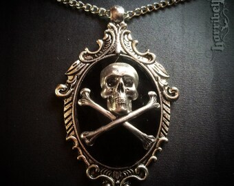 Large Black Skull Necklace // Skull Pendant // Gothic Necklace // Skull and Crossbones // Horror // Halloween // Pirate // Punk Jewelry