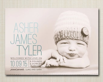 BIRTH ANNOUNCEMENT, photo birth announcement, baby announcement, digital announcement