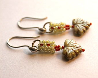 Hand Beaded earrings with Czech glass leaves, seed beads and Sterling Silver findings