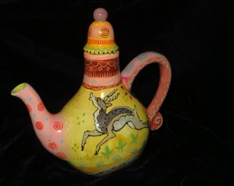 Charming yellow and pink teapot with leaping stag