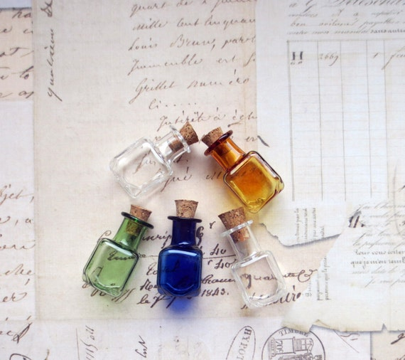 Miniature small multi colored glass by westvintageandsupply for Colored glass bottles with corks