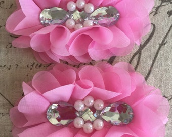 FLOWERS-TEARDROP Rhinestone and Pearl Center  PINK set of 2-4.5 x 3.5 inches wide