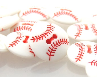 White Baseball Buttons by Buttons Galore