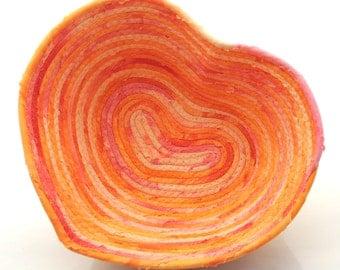 Small Peach Melba Heart Bowl