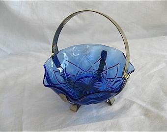 Vintage Blue Glass Jam/Jelly Dish
