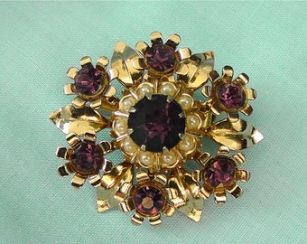Vintage Purple Crystal Pin