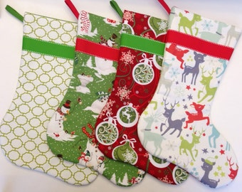 Set of Four Christmas Stockings in Red and Green