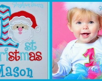 Santa Onesie,  Santa or Metallic Silver Snowflake,  You Choose Design and Colors, sizes 3, 6, 9, 12,18, 24 morths