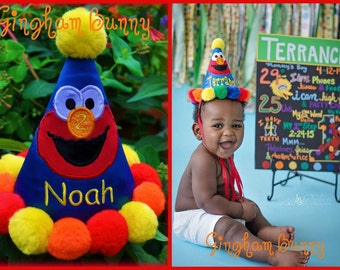Elmo Birthday Hat, You choose cone colors, and Name,  HANDMADE, Embroidered and Appliqued,  by  Gingham Bunny Embroidery