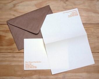 Personalised Letterpress Paper Stationery Set - Rockwell 12pt