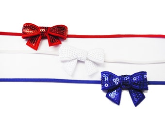 50% OFF Mini Sequin Bow Headband - Red, White, Blue Headband, Patriotic Headband