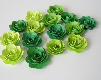15 Green Ombre rolled paper flowers, wedding decoration,scrapbook decoration,table decoration, rosette,small flower,embellishment