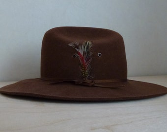 Vintage Brown Wool Feather Wide Brimmed Western Gypsy Boho Hippie Hipster Hat