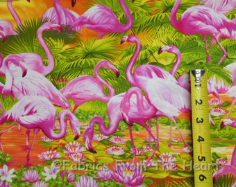 Pink Flamingo Birds Sunset Lilies Palms BY YARDS Timeless Treasure Cotton Fabric