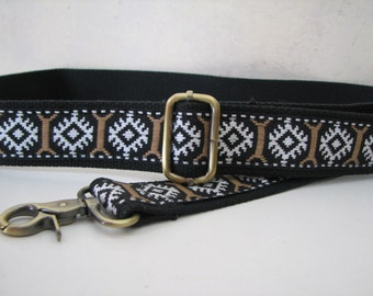 CUSTOM Shoulder Strap for Handbag, Vintage Black and Tan Trim