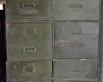 Vintage Industrial Baked Enamel 4 Drawer Metal Cabinet