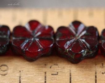 sale .. BING CHERRY BLOOMS No. 1 .. 10 Picasso Czech Flower Glass Beads 10x3mm (4231-10)