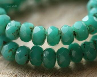 DEEP OCEAN No. 3 .. 30 Premium Picasso Czech Rondelle Glass Beads 3x5mm (4265-st)
