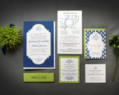 Preppy Blue and Green Wedding Invitations -- Main, Reception and RSVP cards -- PDF or printed for you